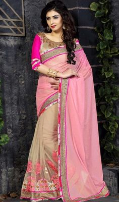 Become the grandstand beauty clad in this pink and cream color georgette net half n half sari. This engaging attire is displaying some fantastic embroidery done with lace and resham work. #pinkcolorsarees #pinknetsaris #fancylaceworksari