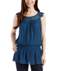 Look what I found on #zulily! Jade Shirred Lace-Strap Tank #zulilyfinds