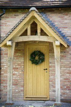 64 Ideas for front door porch extension border oak Front Door Canopy, Porch Canopy, Oak Front Door, Front Door Porch, Porch Doors, Front Porches, Brick Cottage, Cottage Porch, Cottage Style