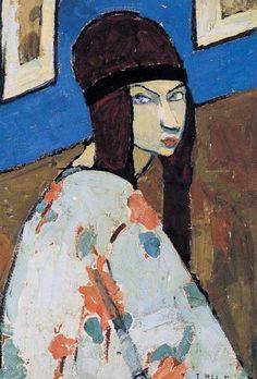 peinture française : Jeanne Hébuterne, autoportrait, 1918, portrait de femme…