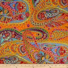 Kaffe Fassett Paisley Jungle Tangerine Fabric By The Yard