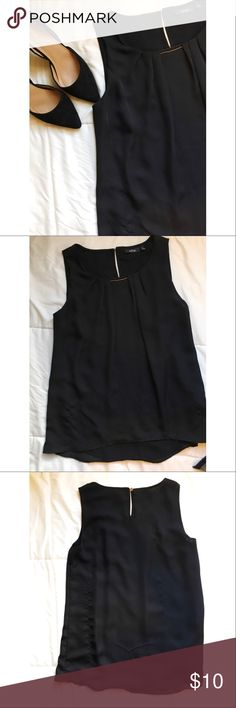 Black Top🎀 Black dressy tank top, has 2 pulls in the backside as shown in picture. Not noticeable when wearing, defect reflected in price Apt. 9 Tops Tank Tops