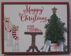 2017  In My Craft Room - Stamping With Glenda: Ready For Christmas Bundle Card Share      Supplies:  Paper:  Real Red, Garden Green, Whisper White, Wood Textures designer paper, Gold Foil  Ink:  Garden Green, Real Red, Marina Mist, Smoky Slate  Marker:  Real Red  Other:  Ready for Christmas stamp set, Christmas Staircase dies, Oh What Fun stamp set