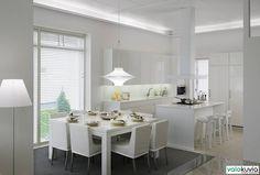 Päivänvalolampuilla toteutettu valaistus. Päivänvalolampun sävy näyttää kauniilta ja raikkaalta valkoisessa valaisimessa. Kuva Suomen Asuntomessut.