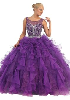 Jeweled Bodice Ruffled Skirt Quinceanera Gown Purple #discountdressshop #quinceanera #ballgown #promgown #prom2k17 #purpledress