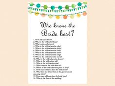 Who knows the Bride best who knows the groom by MagicalPrintable