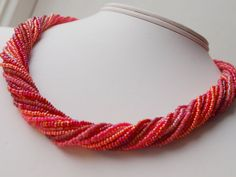 Coral Beaded Necklace by SoutheastSecrets on Etsy, $30.00