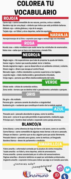 Recopilatorio de vocabulario en español con colores...¡colorea tu vocabulario!