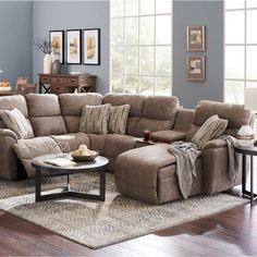 724 in by La-Z-Boy in Plymouth, WI - Trouper Sectional Lazy Boy Furniture, Living Room Furniture, Living Room Decor, Living Rooms, Sectional Sofa Layout, Living Room Sectional, Sectional Sofas, Reclining Sectional, Furniture Layout