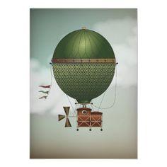 Stormy Skies Airship Citronnier | Steampunk Travel Print