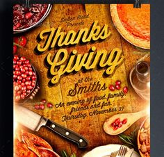 Thanksgiving Dinner Flyer Templates By Kinzi Creativemarket
