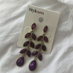 """Style&Co Earrings These earrings have a three color purple tone. Measures 2.5"""" in length. Style & Co Jewelry Earrings"""