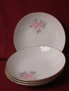 Noritake, China Dinnerware Roseville, Pink rose #6238 set 4 Coupe Soup