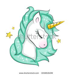 Cute magical unicorn. Vector design isolated on white background. Print for t-shirt or sticker. Romantic hand drawing illustration for children.