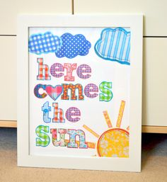 Here comes the sun 11x14 wall art- Beatles song- Beatles lyrics and nursery- new baby gift- clouds and sun print. $13.00, via Etsy.