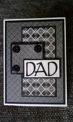 Happy Fathers Day Black and Cream Card by Kimholmes on Etsy, $5.00