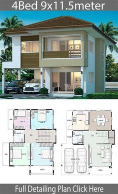 House Plans Mansion, Duplex House Plans, House Layout Plans, Bedroom House Plans, House Layouts, Two Story House Design, 2 Storey House Design, Duplex House Design, House Map Design