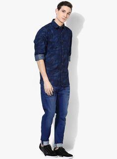 Wills Lifestyle Navy Blue Printed Slim Fit Casual Shirt #navyblue #Printed #slimfit