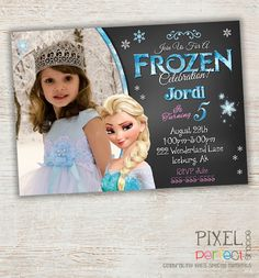 Frozen Birthday Invitations, Thank You Cards and Party Favors for any occasion! All custom and original designs created by Pixel Perfect Shoppe. :)