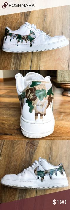 Custom AF1 Bape Camo Drip (Women's) Custom made AF1 Bape Camo Drip design made to order. (Can also do red or blue Camo pattern) Price includes the brand new shoe and custom job. Pair above are just my sample pair Prices may vary with custom requests. You can either pay on this app or through PayPal just email me at goplinz23@gmail.com! Ask about sizes available please! Nike Shoes Sneakers