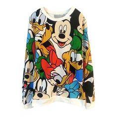 Hoodies/Sweatshirts - Mickey MouseDuck Print Loose Hoodie