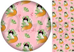 Japanese fox fairy inspired fabric design with fans and flowers in pink. Oriental and girly.
