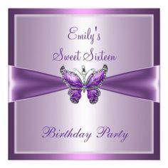 Sweet Sixteen 16 Purple Mauve Butterfly Birthday invitations Birthday invitations by zizzago.com