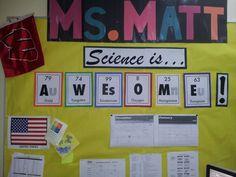 Nerdy bulletin board idea! SCIENCE!!