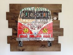 "License Plate Art ""VW Bus"" (40"" x 33""). $499.00, via Etsy."