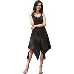 DSun Handkerchief Hem Flowy Top Casual Summer Spaghetti Strap Camisoles Dress S Black -- Click for Special Deals