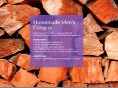 DIY Men's Cologne Essential Oil For Men, Oils For Men, Essential Oil Scents, Essential Oil Perfume, Doterra Essential Oils, Young Living Essential Oils, Essential Oil Diffuser, Perfume And Cologne, Men's Cologne
