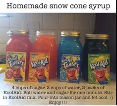 Snow Cone Syrup - substitute another sweetener for the sugar Summer Snacks, Summer Treats, Summer Drinks, Summer Recipes, Summer Fun, Pool Snacks, Frozen Drinks, Frozen Desserts, Frozen Treats