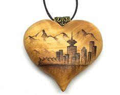 My favorite city! <3 <3 <3  -  Vancouver Skyline Heart Pendant -