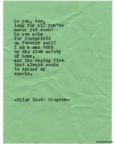Typewriter Series #1610 by Tyler Knott Gregson Chasers of the Light & All The Words Are Yours are Out Now!