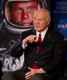 Sen. John Glenn speaks to guests at NASA's Future Forum at Ohio State University on Monday, Feb. 20, 2012, in Columbus, Ohio. Today marks the 50th anniversary of Glenn's historic flight. Glenn was the first American to orbit Earth.