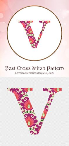 "This is modern cross stitch pattern of ""Folk Letter V"" for instantly downloadable after purchase, so you can start stitching right away! Embroider with pleasure and decorate your house with your beautiful works! Design 55. DMC colors: 8, 142 stitches wide x 121 stitches high"