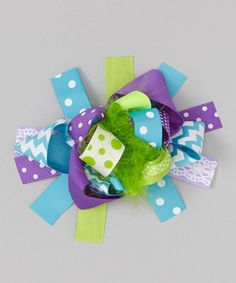 Look what I found on #zulily! Purple & Green Ribbon Bow Clip by Under The Hooded Towels #zulilyfinds