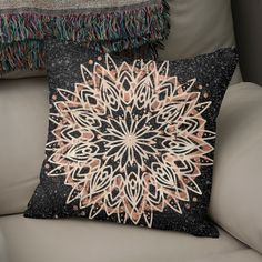 Discover «Metallic Mandala», Numbered Edition Throw Pillow by Bee-Bee Deigner - From $27 - Curioos Black Marble Background, Framed Art Prints, Canvas Prints, Bee Bee, Grey Roses, Welcome Gifts, Soft Fabrics, Mandala, Metallic