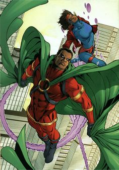 Icon with Rocket (D.C Comics) -Born Augustus Freeman he crash-landed on Earth in 1839. One night while Arnus is fending off a home invasion, Raquel Devin (Rocket) witnesses Arnus' powers and follows Arnus. She sees Arnus as her way out of her gang neighboorhood and to help clean up her streets. After several attempts she manages to convince Arnus to take up the cape and become Icon with her as his sidekick Rocket. Icon possesses vast strength due to his alien heritage & maximization of his…