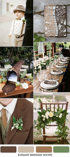 deep brown and greenery sophisticated wedding colors