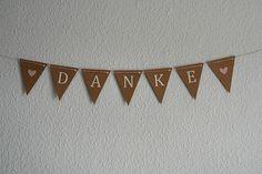 Hochzeitsgirlanden - Kleine Girlande DANKE - ein Designerstück von GingerCraftwork bei DaWanda