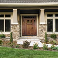 Craftsman Front Door. Also love the windows for dining roomi like the craftsman style