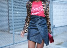 Leather skirt - print T - tiger jacket. Perfect.