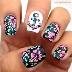 Check out these Cute floral nail designs, simple flower nail designs, flower nail art designs to inspire you towards fashionable nails like you never imagined before. Nautical Nail Designs, Nautical Nails, Cute Nail Designs, Pretty Designs, Anchor Nail Designs, Cute Nail Art, Cute Nails, Pretty Nails, My Nails