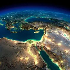 NASA Satellite Image for the Middle East and Egypt in Heart. #Egypt #Africa #Asia #Middle_East #Travel #Offers