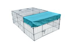 72″ x 48″ Pet Playpen W/Door & Cover Keeps pets cool ,Lightweight and portable Easy to setup and no tools required Perfect for both indoor and outdoor use Sturdy steel frame to give the most strength ,One panel has a door for easy in and out for the pet Dimensions: 72″(L) x 48″(W) X24″(H) http://house4pets.com/product/72-x-48-pet-playpen-wdoor-cover/