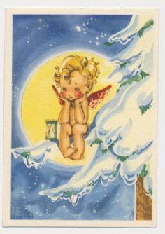 Annons på Tradera  Jajje Evalisa Agathon Oskrivet julkort Småkort Liten  ängel på snöig grangren KV8 7fdbecad1e