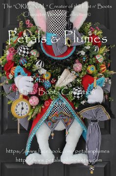 """PRE-ORDER for """"2017"""" Delivery-""""Hatter Rabbit"""" Easter Wreath-Mad Hatter Rabbit- Petals & Plumes Original Design©(SOLD Out for  2016) by PetalsnPlumes on Etsy https://www.etsy.com/listing/67702387/pre-order-for-2017-delivery-hatter"""