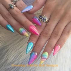 Multicolored Neon Rainbow Stiletto Nails Pins for Ladies multi colored fall nails - Fall Nails Stiletto Nails, Nails Opi, Gradient Nails, Coffin Nails, Glitter Nails, Acrylic Nails, Fun Nails, Manicure, Unicorn Nails Designs