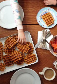 Cornmeal Sweet Potato Waffles by brooklynsupper #Waffles #Cornmeal #Sweet_Potato